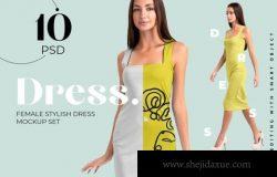 女士优雅直身裙礼服设计样机合集