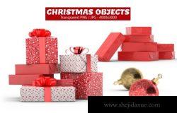 高品质的新年圣诞节礼物礼盒包装设计灯泡素材对象集合