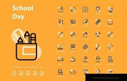 校园日教育主题图形图标矢量图标 Shcool Day (Shape)