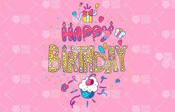 生日快乐英文创意字体排版插画素材 Happy Birthday Typography