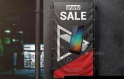 垂直户外广告横幅广告牌样机设计模板