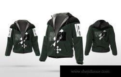 少见稀有的运动服夹克外套服装设计VI样机展示模型