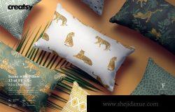 长矩形枕头外观印花图案设计样机模板