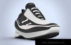 酷炫运动鞋对角线视图PSD样机