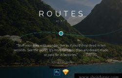 24时尚高端旅行度假餐饮美食社交媒体电子商务移动手机APP UI工具包Routes UI Kit