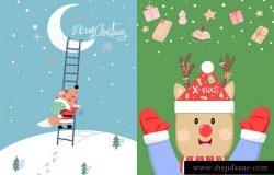可爱小清新风格圣诞节插画海报素材PSD模板合辑
