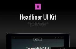黑色高端新闻资讯头条社交媒体博客PSD网页模板Headliner UI Kit