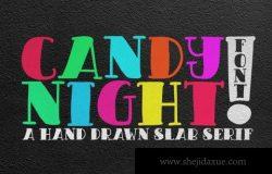 手绘糖果之夜英文字体 CANDY NIGHT FONT