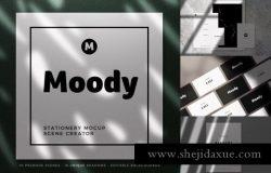 真实拍摄的阴影名片品牌样机贴图展示模版