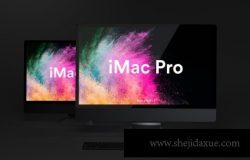 高品质的时尚高端黑暗质感的iMac Pro UI样机展示模型