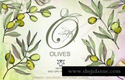 160个手绘水彩橄榄绿叶植物剪贴画素材合集