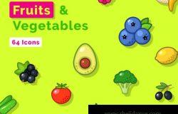 最受欢迎的水果蔬菜图标素材合集包