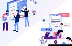 互联网市场营销插画图下载[Ai]