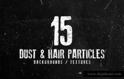 15款微粒毛发做旧效果纹理背景素材 15 Dust and Hair Particles Backgrounds / Textures