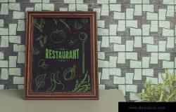 西餐厅黑板粉笔手绘设计效果图展示样机模板 Chalkboard Restaurant Mockup