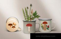 精美森林蘑菇浆果大自然图案插画素材合辑 Go for Mushrooms. Forest Collection.