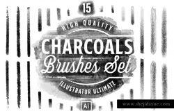15个高品质的水墨木炭效果的AI笔刷charcoals-brushes-set-for-adobe-