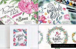 创意手绘水彩花卉/装饰图案/字体设计素材