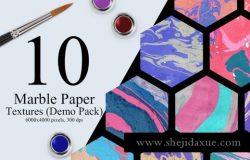 10个大理石流体高清纹理素材免费下载 Marble Ink Paper Textures