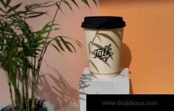 高品质品牌浅色深色系12个PSD咖啡杯饮品植物