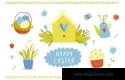 快乐复活节农场元素矢量插画合辑 Happy Easter vector set with bunny