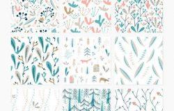 Wildwood系列手工花卉森林图案素材合集包 Wildwood pattern collection