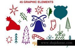 艺术手绘圣诞字母祝语引语剪贴画