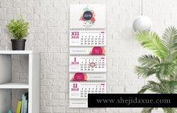 新鲜的挂历年历设计场景展示样机下载wall calendar mockups