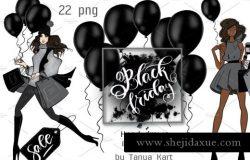 黑五时尚服饰手绘设计插画
