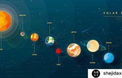 蓝色太空星球空间宇宙地球环绕元素EPS矢量设计素材_454176742