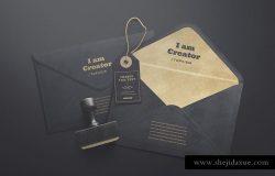 一套黑色简约风信封和标签样机 Envelopes and Tag Mockups