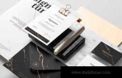 签字场景高端品牌设计展示文具文件样机下载