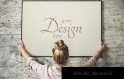 时尚个性流行优雅质感的照片海报相框框架装饰VI样机展示模型