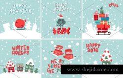 圣诞节新年主题矢量插画合集