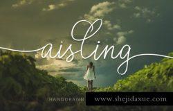 浪漫的爱尔兰手写英文字体 Aisling Font.