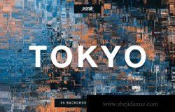 东京城市小故障效果的背景底纹纹理集合