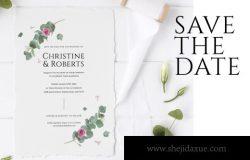 时尚高端简约手绘欧式婚礼海报请帖邀请函DM房地产宣传单设计模板