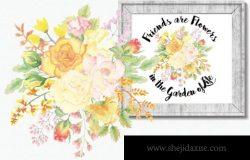 黄粉色玫瑰水彩花卉背景