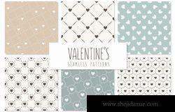 情人节无缝图案纹理 Valentine's Seamless Patterns Set