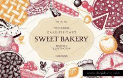 水果糕点及甜点插画设计套件 Fruit Pastries