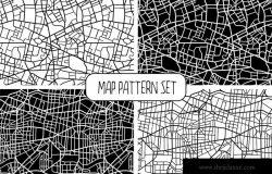 双色调城市街道无缝地图集