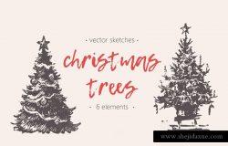 钢笔素描圣诞树插画素材