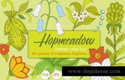 夏季手绘涂鸦花卉植物剪贴画素材合集 Hopmeadow. Summer collection.