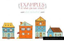 100+手绘房屋插画元素