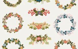 优雅的花环花卉矢量插画素材合集包 Sookiliny Floral Set