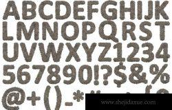 时尚高端逼真质感的多孔石头效果3D立体英文字母