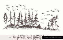 矢量手绘杉树林插画素材