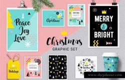 Geometric Christmas graphic set
