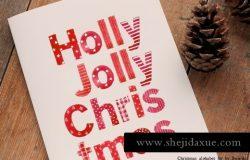 圣诞节主题风格英文字母插画