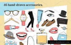 时尚潮流图标和道具剪贴画 Fashion Icons and Props Clip Art